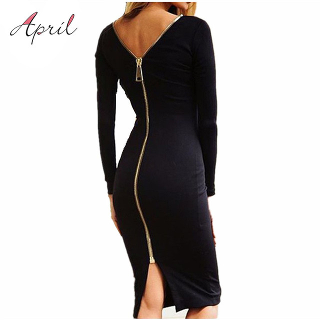 Black Long Sleeve Party Dress With Back Full Zipper