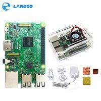 Raspberry Pi 3 Model B Kit Pi 3 Board Acrylic Case Cooling Fan Copper Heatsinks Official