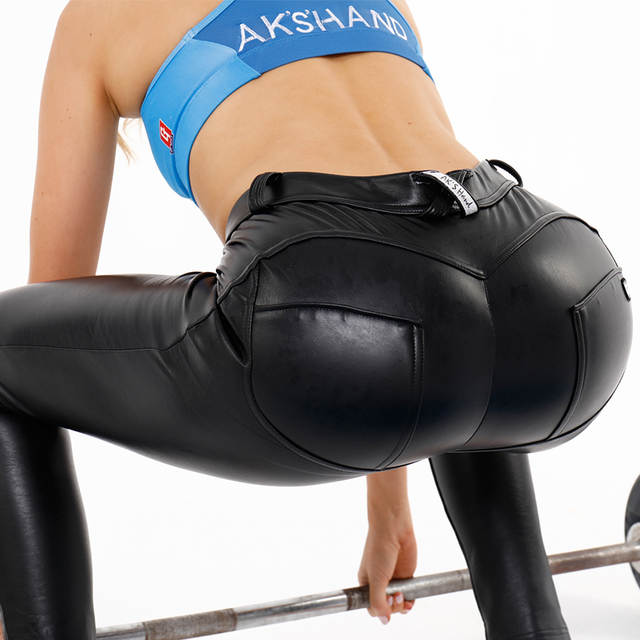 548f07f2a AK's hand leather low waist long yoga pants manufacturer butt lift legging  black sexy pant shaper leggings women leather legging-in Yoga Pants from  Sports ...