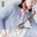 Toyouth 2017 Новое Прибытие Хлопок Повседневная Женщин Пиджаки Мода Осень Полосатый Карманы Кнопка Пиджаки