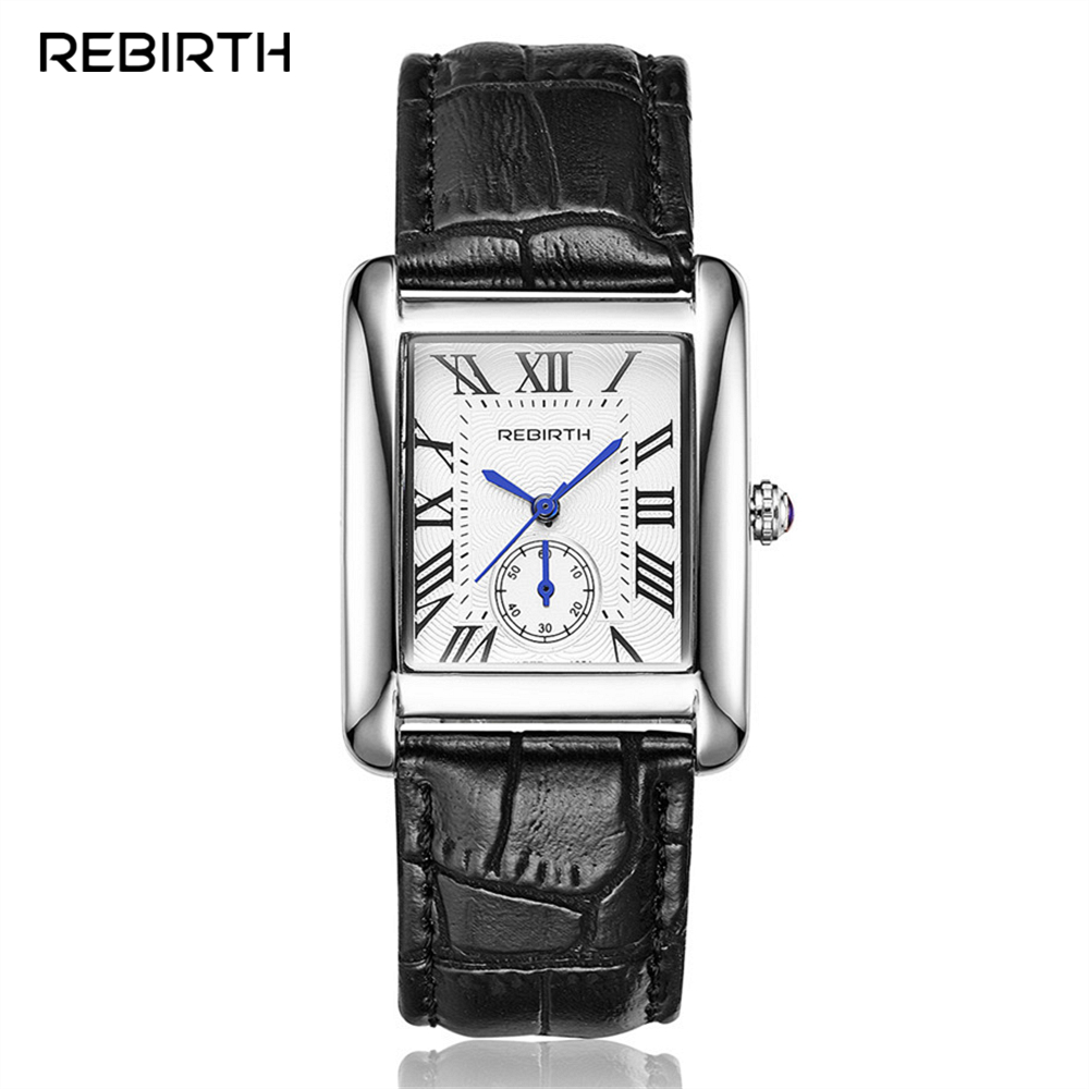 REBIRTH Classic Rectangle Roman Dial Analog Quartz Watch Leather Strap Women Dress Clock  Gold/ Silver Steel Case Ladies Watches
