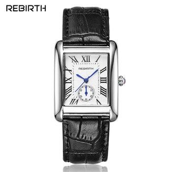 REBIRTH Classic Rectangle Roman Dial Analog Quartz Watch Leather Strap Women Dress Clock Gold/ Silver Steel Case Ladies Watches