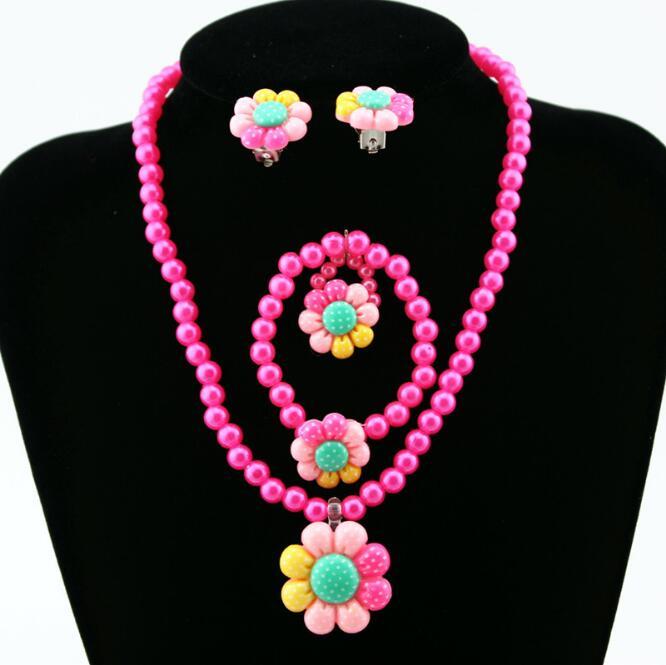 100% De Qualité 1 Set = 4 Pièces Bébé Filles Perles D'imitation Coloré Mignon Soleil Fleur Collier Bracelets Bagues Enfants Enfants Ensemble De Bijoux Cadeau