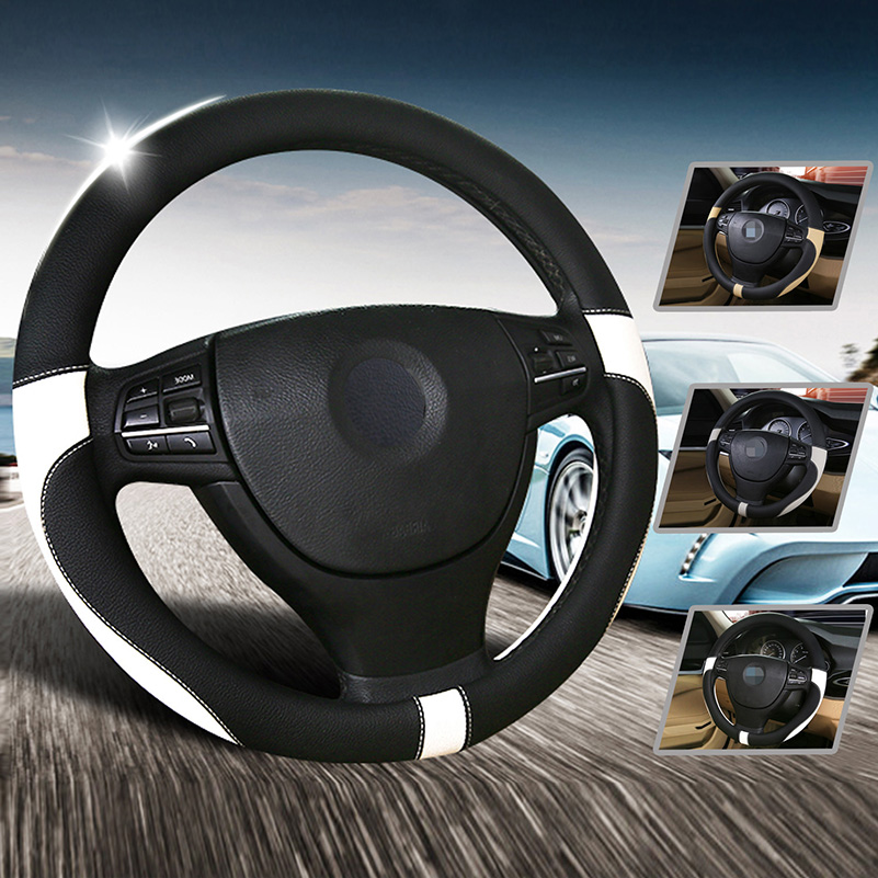 Bmw Z4 M Steering Wheel: 38cm/15in Leather+Rubber Car Steering Wheel Cover For BMW