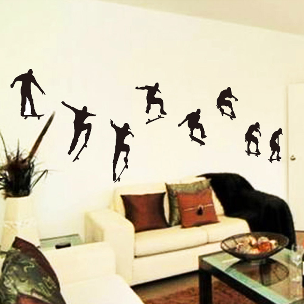 New Wall Stickers Skateboard Sports Cool Life Simple Black DIY Wall Stickers  Wallpaper Art Decor Mural