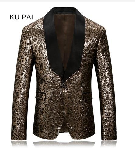 Leopard font b men s b font suit jacket print gold classic men 2017 fashion pioneer