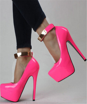 FGHGFFree Post new beautiful pink patent leather, gold sequined, buckle,16 cm high-heeled shoes. Size: 35-43