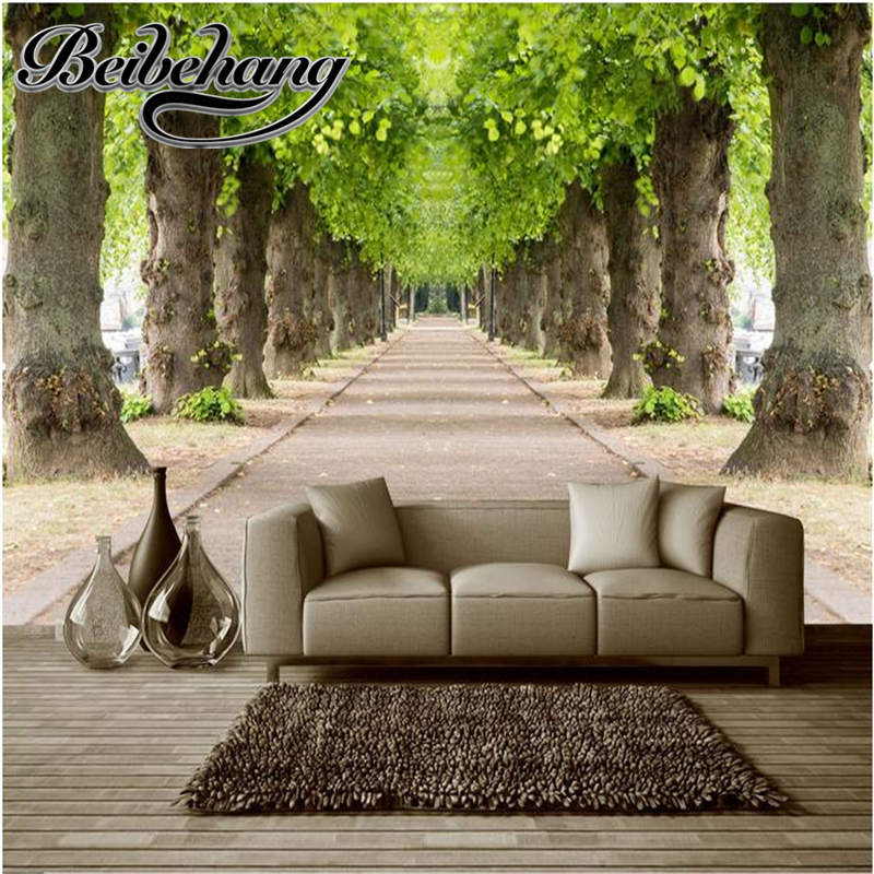 beibehang 3d wallpapers custom mural nonwoven fabric 3d room wallpaper forest road 3 d space background wall photo 3d wall custom mural wallpaper forest road 3d