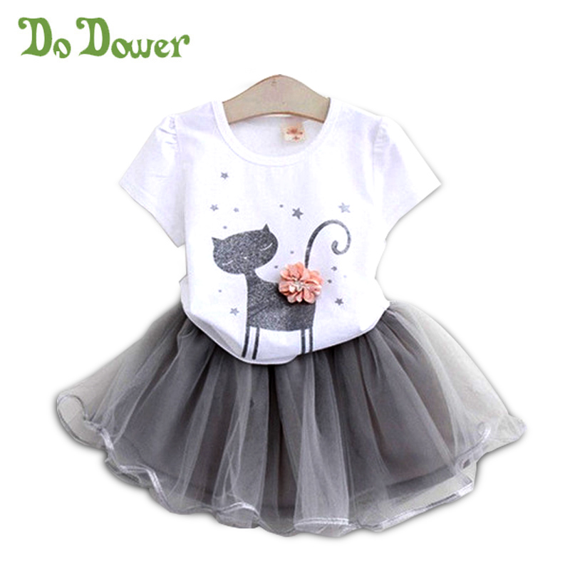 Fashion Baby Girls Outfits Set Cute Cat Bling Bling Printing Short Sleeve Shirt And Skirts Set Kids Girl Suits Children Clothing newborn toddler girls summer t shirt skirt clothing set kids baby girl denim tops shirt tutu skirts party 3pcs outfits set