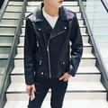 Hot Men Autumn Jacket Fashion 2016 Quality Faux Leather Jacket Men Plus Size Turn Down Slim Fit Windbreaker Windproof Coat Male