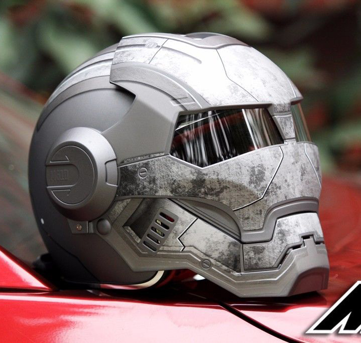 Masei 610 Étoiles Machine DOT Casque Ironman Iron Man Atomique Homme moto Casques Ouvert Visage Ironman Star Wars Gris Guerrier Mat L