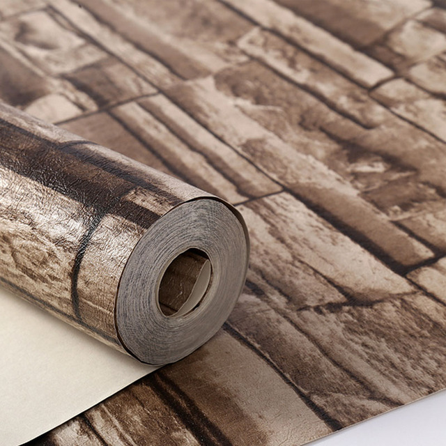 Stone 3D Wood Blocks Effect Brown Stone Brick 10M Vinyl Wallpaper Roll Living Room Background Wall Decor Wall Cover Thicker