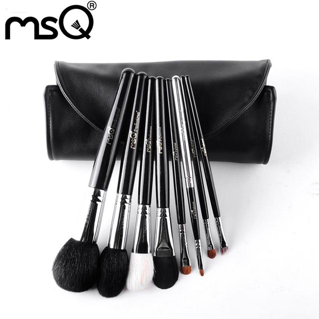 MSQ 8 pcs Pincéis de Maquiagem Profissional Definida Para Viagens Animal Macio Cabelo Ponteira de Cobre Com Capa de Couro PU