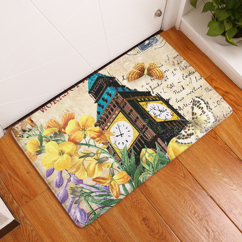 2017 New Flowers Print Carpets Non-slip Kitchen Rugs for Home Living Room Floor Mats 40x60cm