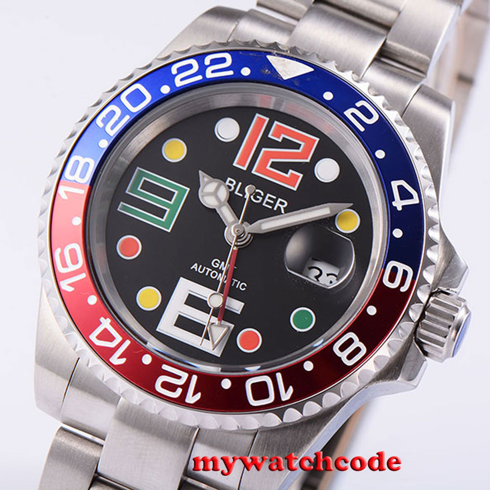 40mm Bliger black dial GMT date window automatic movement mens unsex watch B4540mm Bliger black dial GMT date window automatic movement mens unsex watch B45