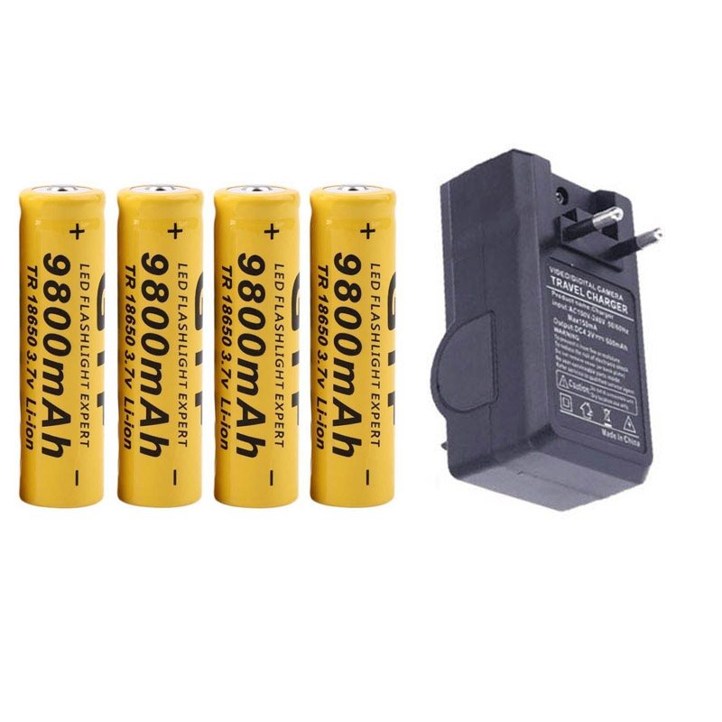 GTF 9800mAh 3 7V 18650 Battery Li- ion batteria Rechargeable Battery For  LED Flashlight Torch + EU Charger For 18650 Battery