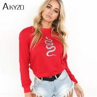 AKYZO 2017 autumn snake print long sleeve pullover hoodies women fashion o neck top female red casual sweatshirt drop shipping