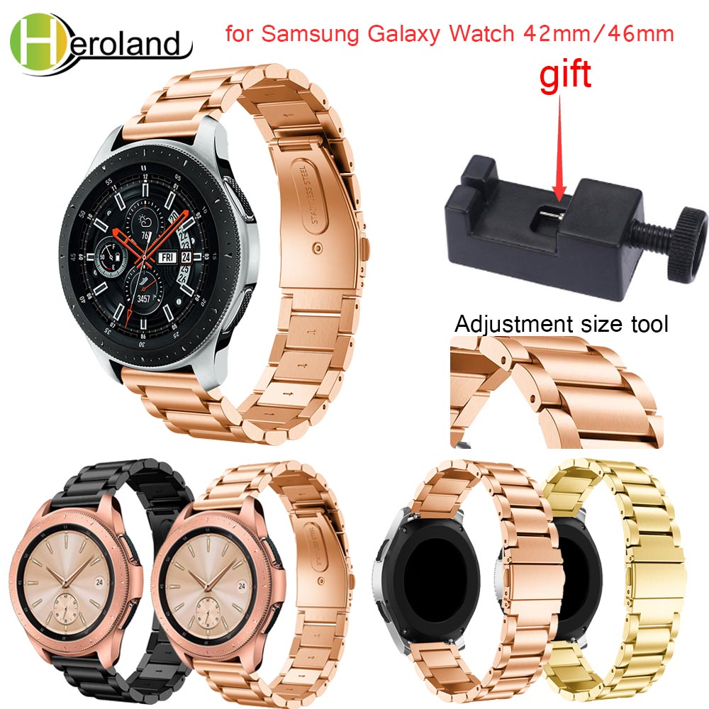 Luxury Stainless steel smart watchband strap 2018 new for Samsung Galaxy Watch 46mm/42mm band Black metal Replacemet With tool цена