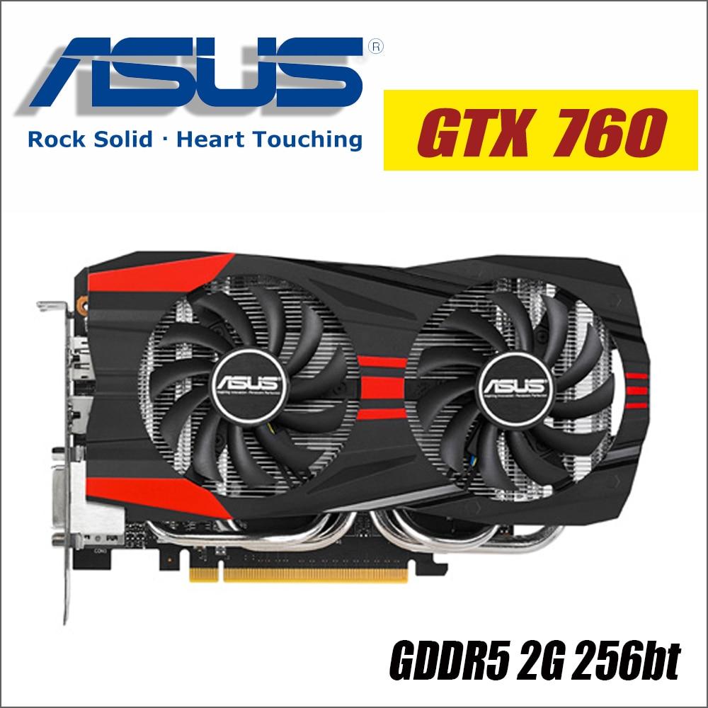 ASUS Vidéo Carte Graphique Originale GTX 760 2 gb 256Bit GDDR5 Cartes Vidéo pour nVIDIA VGA Cartes Geforce GTX760 hdmi Dvi