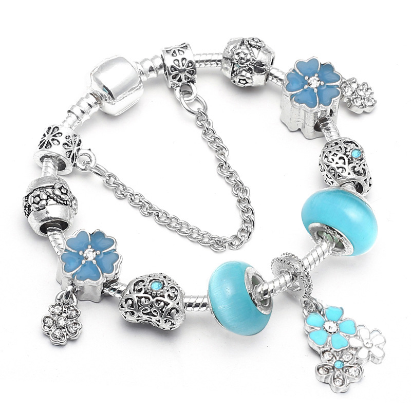 BAOPON Прямая поставка винтажные Подвески серебряного цвета браслеты для женщин DIY Кристальные бусины изящные браслеты для женщин Pulseira ювелирные изделия - Окраска металла: Type 5