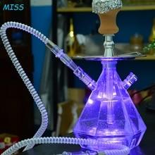 Diamond Shape LED Shisha Acrylic Hookah Kit Set with Coal Holder Charcoal Holder
