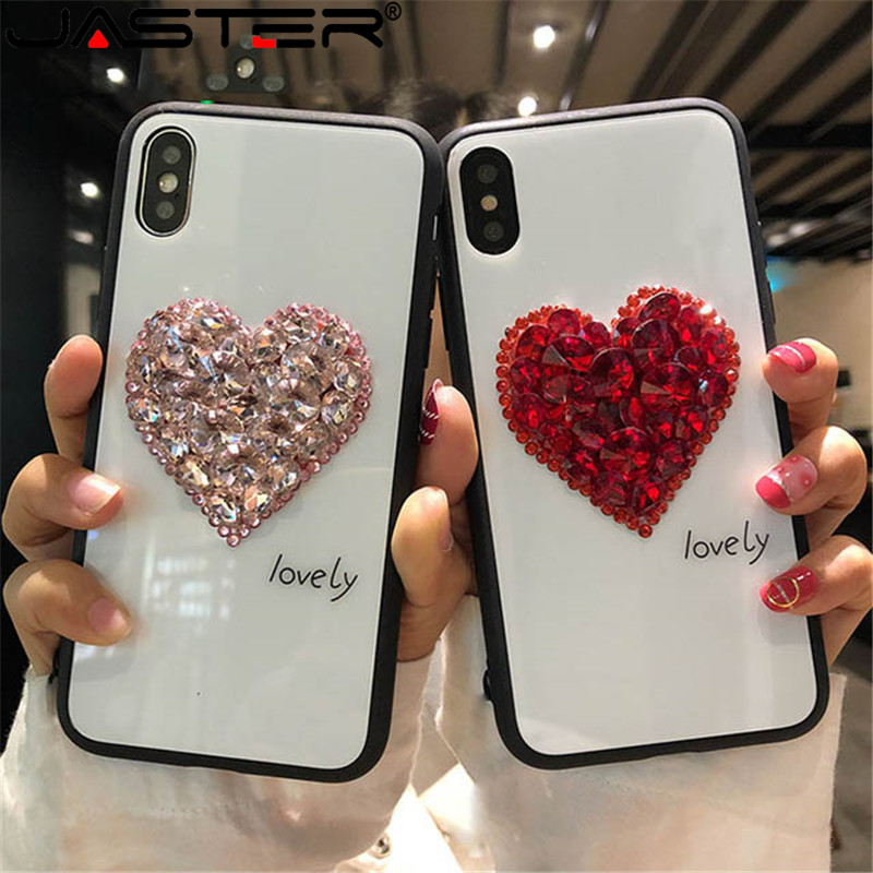 JASTER Tempered Glass <font><b>Case</b></font> <font><b>Glitter</b></font> Rhinestone Love Heart <font><b>Phone</b></font> <font><b>Case</b></font> For iPhone11 11pro 11promax X XS <font><b>XR</b></font> XS Max 6 6S 7 8 Plus image