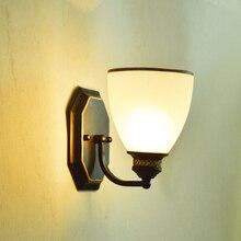 Lámpara de pared creativa nórdica LED estilo americano Estilo Vintage mesita de noche dormitorio individual cabeza doble lámpara de pared Decoración