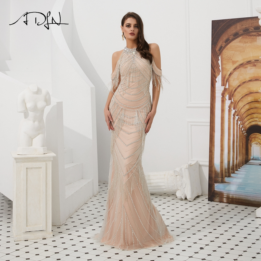 ADLN Sexy Mermaid Evening Dresses High Quality Halter Sleeveless Floor Length Long Prom Gowns Delicate Beaded
