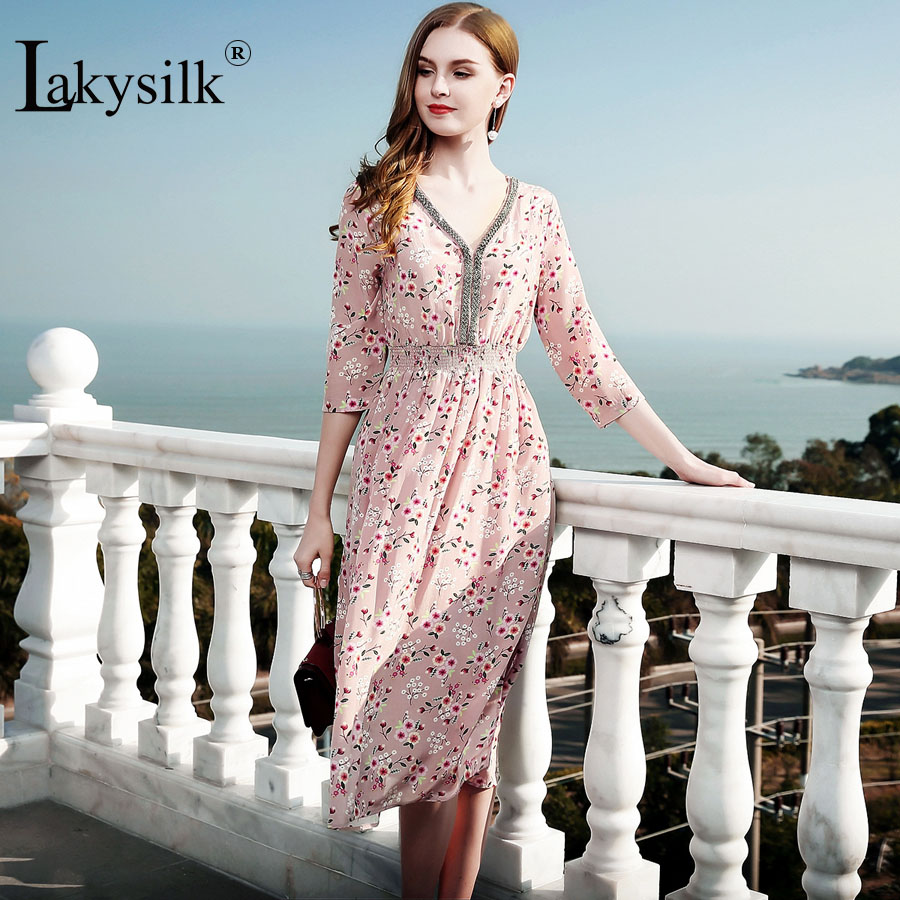 [Lakysilk]Vintage 100%Silk long Beach Dress Women V Neck Floral Print Ladies A line Sexy Casual Sweet Dress Summer Clothing-in Dresses from Women's Clothing    1