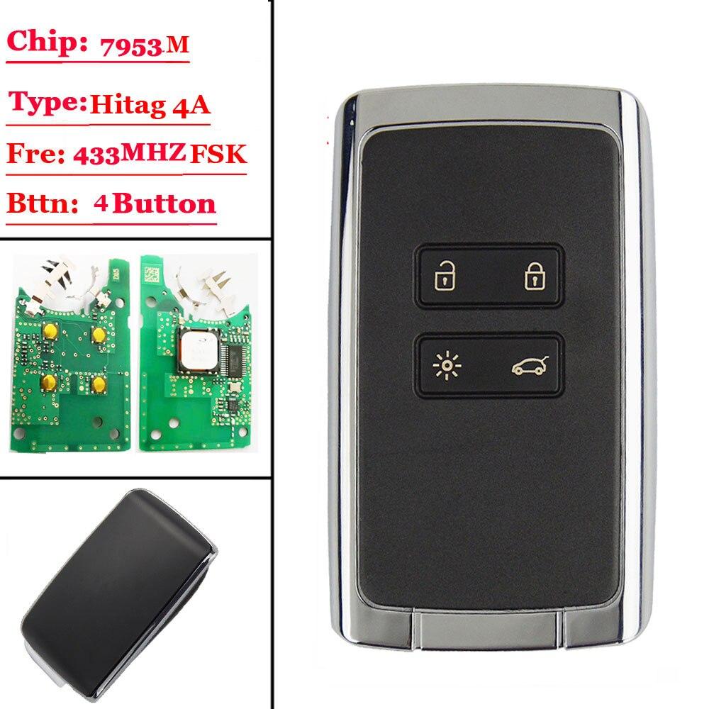 New 4 btns Smart Remote key card 433 92Mhz For Renault Megane4 Talisman Espace 5 Kadjar