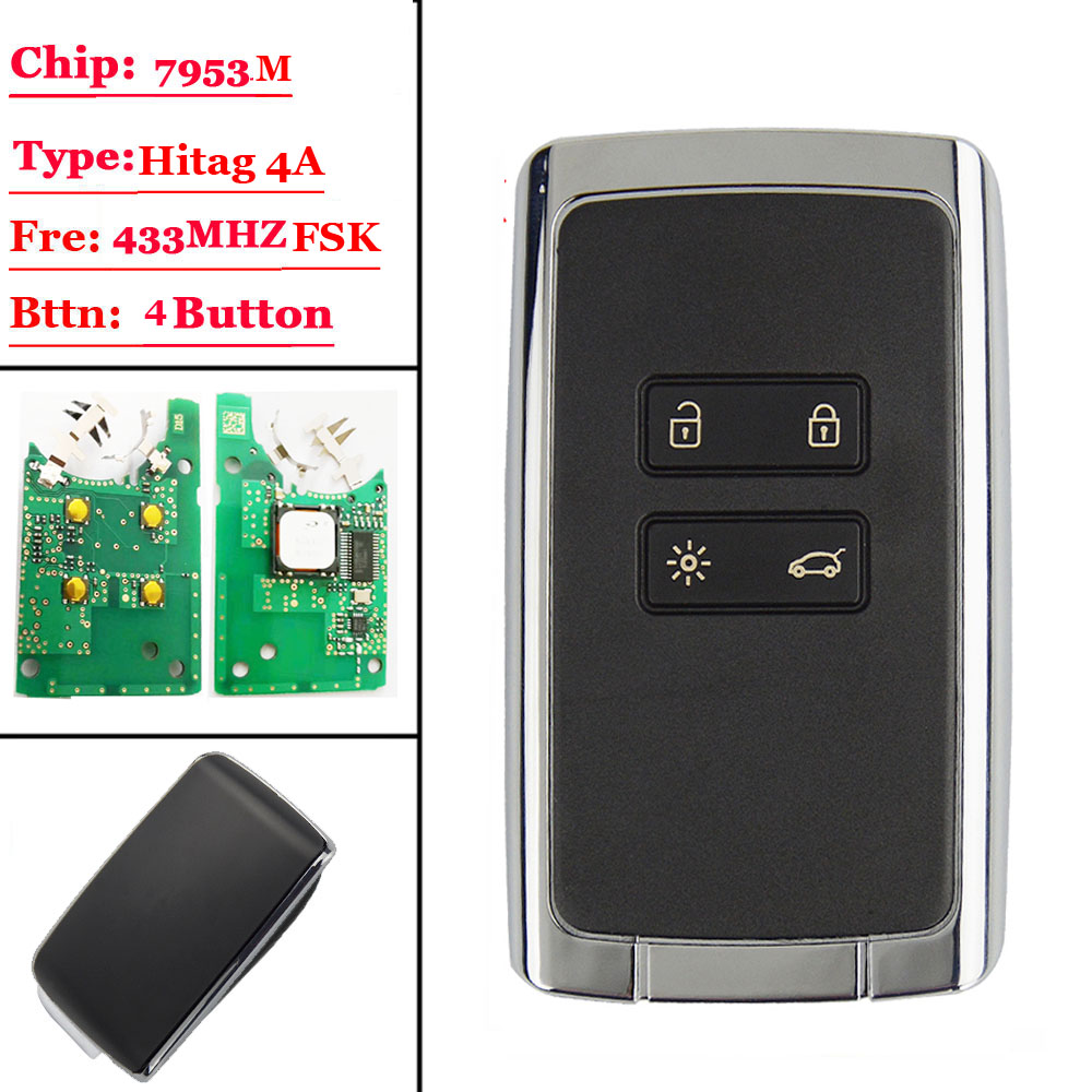 New 4 Btns Smart Remote Key Card 433.92Mhz For Renault Megane4 Talisman Espace 5 Kadjar 2015 With PCF7953M HITAG AES 4A CHIP