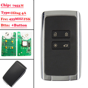 Image 1 - New 4 btns Smart Remote key card 433.92Mhz For Renault Megane4 Talisman Espace 5 Kadjar 2015 with PCF7953M HITAG AES 4A CHIP