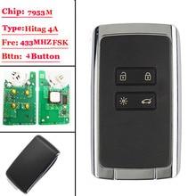 Tarjeta de mando a distancia inteligente, 4 btns, 433,92 Mhz, para Renault Megane4, talismán Espace 5, Kadjar 2015, con CHIP PCF7953M, HITAG AES 4A