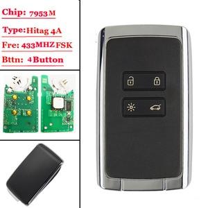 Image 1 - Tarjeta de mando a distancia inteligente, 4 btns, 433,92 Mhz, para Renault Megane4, talismán Espace 5, Kadjar 2015, con CHIP PCF7953M, HITAG AES 4A