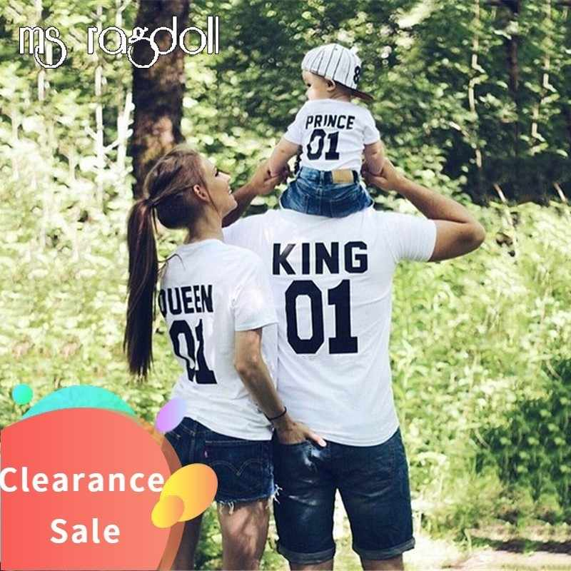 Plus Größe Baumwolle T Shirt Sommer Top Stil Hip Hop King01 Queen01 Kurze-sleeveless kinder eltern-kind- paar Lose T-shirt