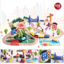 child boy girl toy 108pcs train rail wooden model building toy fishing game +cars + traffic good gift for kids