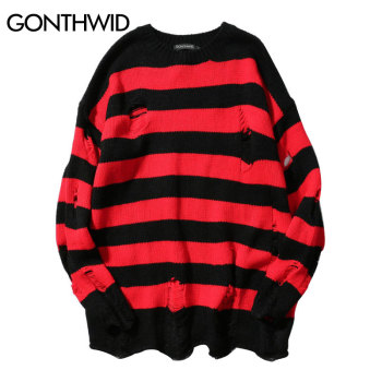 GONEWILD Ripped Stripe Knit Sweaters Men Hip Hop Hole Casual Pullover Sweater Male Fashion Loose Long Sleeve Red Black - discount item  43% OFF Sweaters