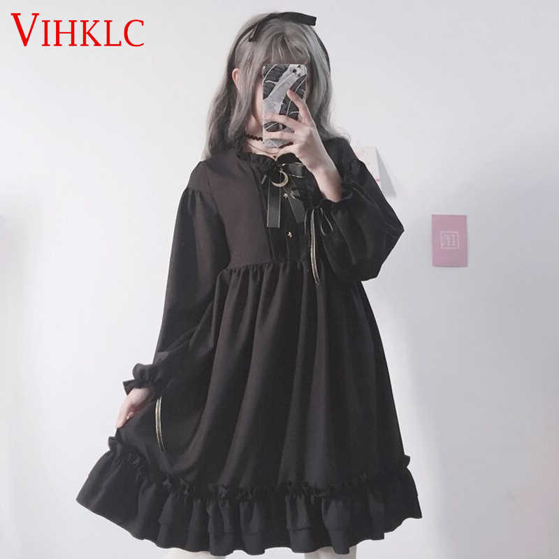 Women Black Ruffles Dress Japanese Harajuku Lantern Sleeve Lolita Style Student's Dress Sweet Kawaii Cute Bow Girl Chiffon C510