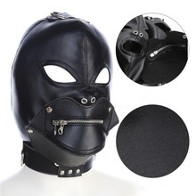 Adjustable PU Leather Open Eyes Mouth Zipper Hood Mask Harness Fetish Slave Bondage BDSM Adult Games Sex Toys for Men Women