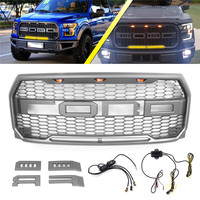 1Set Car Front Racing Grille For Ford F150 Raptor 2015 2018 Auto Bumper Grille With Wire Harness LEDs Front Grille