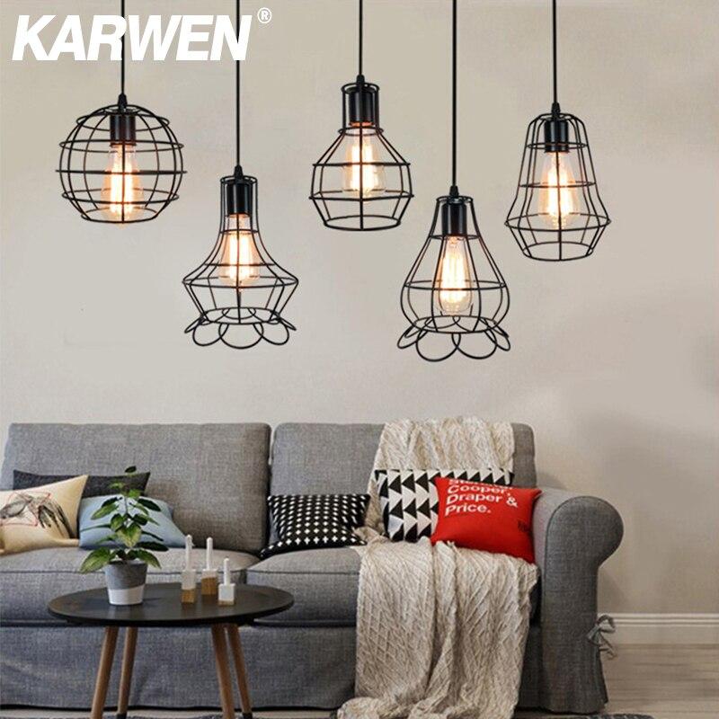 KARWEN Vintage Retro Pendant Lights Hanglamp Lamparas De Techo Colgante Moderna Hanging Modern Industrial Decor Edison Bulb