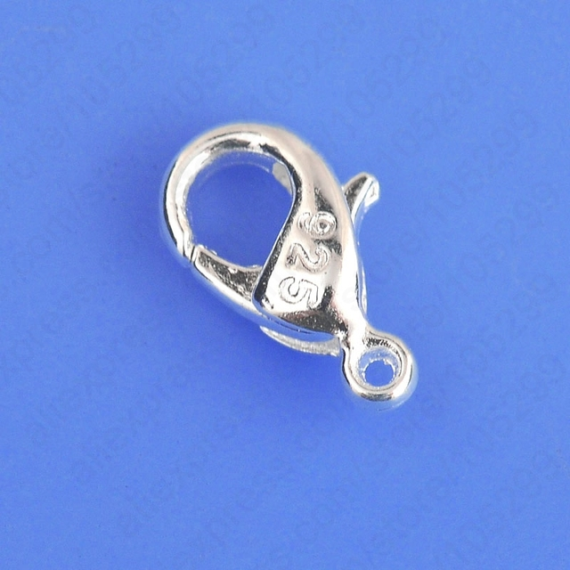 100PCS Bulk Jewelry Findings Genuine 925 Sterling Silver Lobster Clasp 925 Stamped Fittings Connector Components
