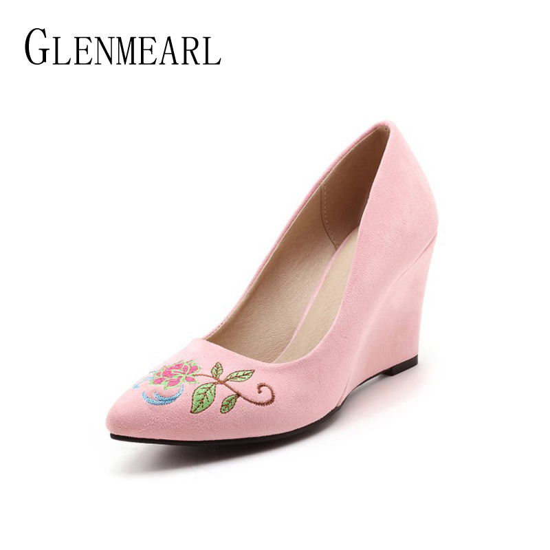 Embroider Wedges Women High Heels Pumps Shoes Fashion Brand Spring Single Ladies Party Wedding Heels Pumps Shoes Plus Size 34-46 yeelves new women fashion thin high heels pumps yellow or black heels court shoes pumps for ladies girl party plus size bowtie