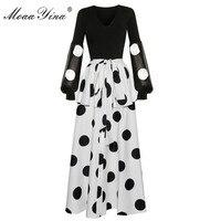 MoaaYina модный дизайнерский комплект весна женский длинный рукав v-образный вырез черная блузка + оборки волнистая точка длинная юбка элегантн...