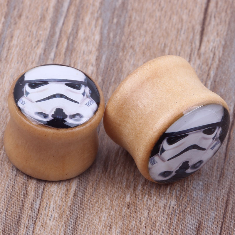 US $35 8 |Star Wars Stormtrooper Logo Saddle Ear Plug Flesh Tunnel Gauge 6  16mm Double Flared Wooden Body Jewelry Piercing Ear Expander-in Body
