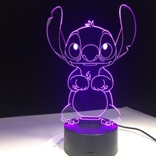 Stitch Cartoon 3D Lamp Bedroom Table Night Light Acrylic Panel USB Cable 7 Colors Change Touch Base Lamp Kids Gift 3D-812 1piece 7 colors change lamp police box 3d lamp acrylic led usb table lamp tardis lights multi colored bulbing light