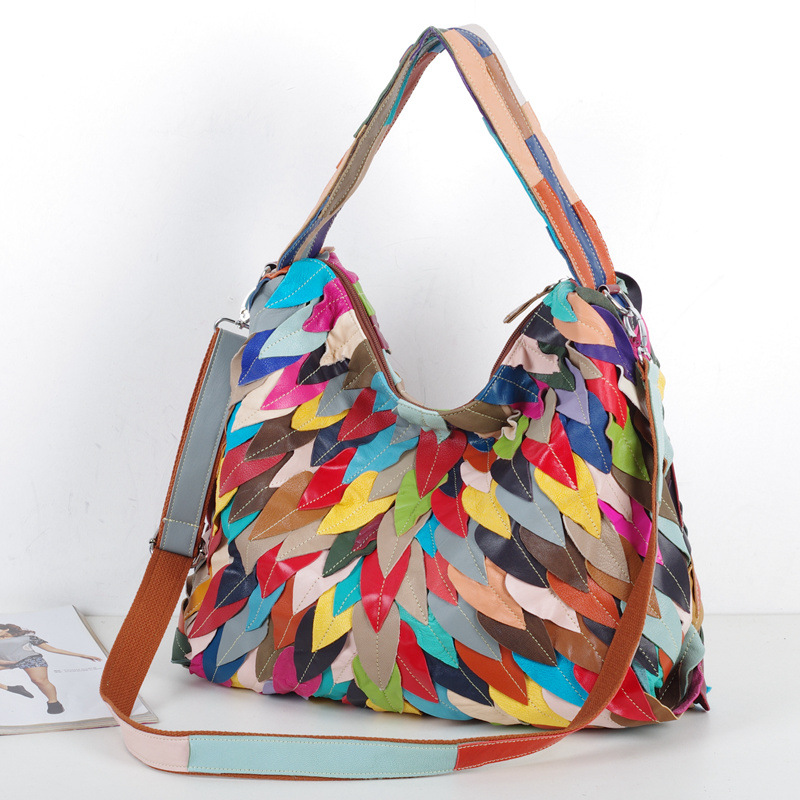 iPinee brand genuine leather handbag women large hobos shoulder bag female  high quality colorful leaves tote bag fashion top han-in Shoulder Bags from  ... 54aca24414ccd