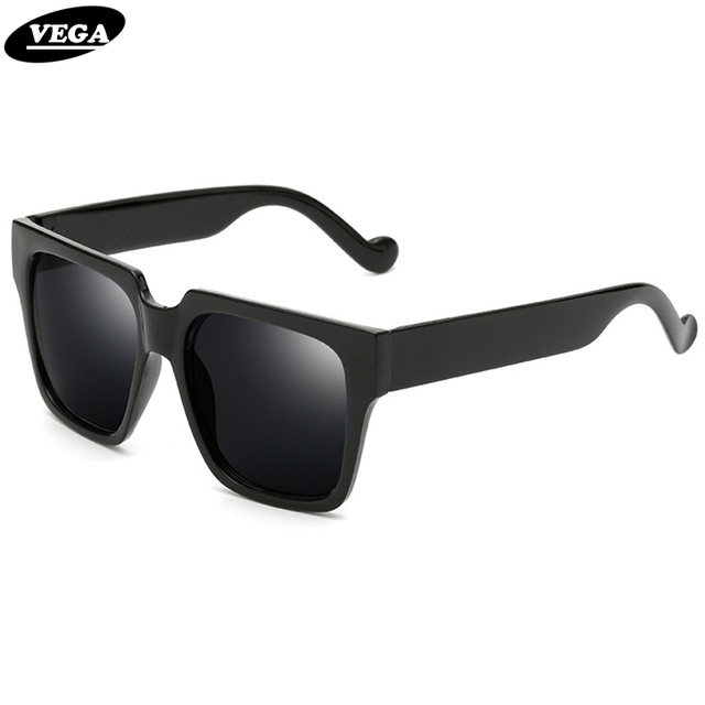 b91c1ccef10 VEGA 2017 Trendy Big Black Sunglasses Unisex Square Hipster Glasses Vintage  Goggles Women Men Shades UV400