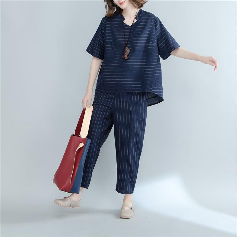 Pengpious women suits summer short sleeve high low blouses striped cotton linen trousers twinset female plus