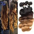 ombre brazilian body wave virgin hair extension 3pcs 1b/4/27# three tone ombre human hair weave bundles queen king hair products